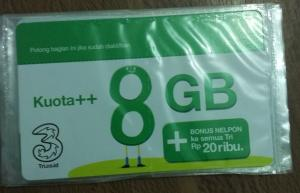 3 Voucher Data 8 GB+PULSA 20RB